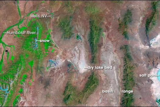 NASAA satellite photo of the Great Basin